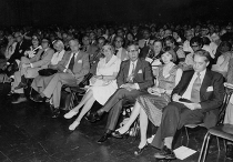 ICME 3, Karlsruhe 1976, Opening lecture. On the front row from the right: Kunle, Mrs. Kunle, Iyanaga, Mrs. Behnke, Christiansen, Hanne Christiansen, Steiner and wife, Greenhill