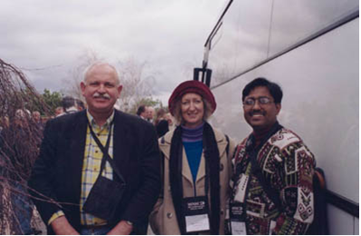 Peter and Lois Taylor (Australia) with Prodipta Hore (India).