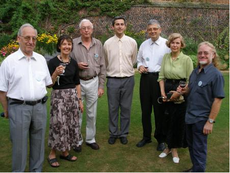 Francisco Bellot-Rosado (Spain), Helen and Bruce Henry (Australia), Ivaylo Kortezov (Bulgaria), Petar and Julia Kenderov (Bulgaria) and Maurice Starck (New Caledonia) on the lawns of Trinity College,Cambridge, 2004.