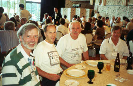 Bernard Hodgson, from Quebec and Secretary of ICMI, Howard Groves (UK Chairman of Junior Challenge Problems Committee), Peter Taylor (Australia) and Warren Atkins (Australian Mathematics Competition Problems Committee Chairman) enjoying lunch at Mt Fuji, Tokyo 2000.