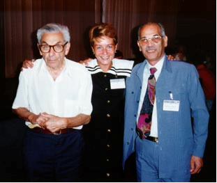 Paul Erdös with Tseni, one of the Bulgarian organisers, and William Ebeid (then of Kuwait but later Egypt), Bulgaria, 1994.